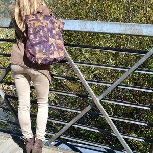 Lucky Brand suede leather handbag Hobo brown blue